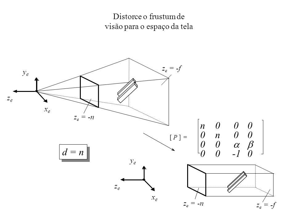 xexe yeye zeze Distorce o frustum de visão para o espaço da tela [ P ] = n 0 0 0 0 n 0 0 0 0 0 0 0 z e = -n z e = -f xexe yeye zeze z e = -n z e = -f d = n