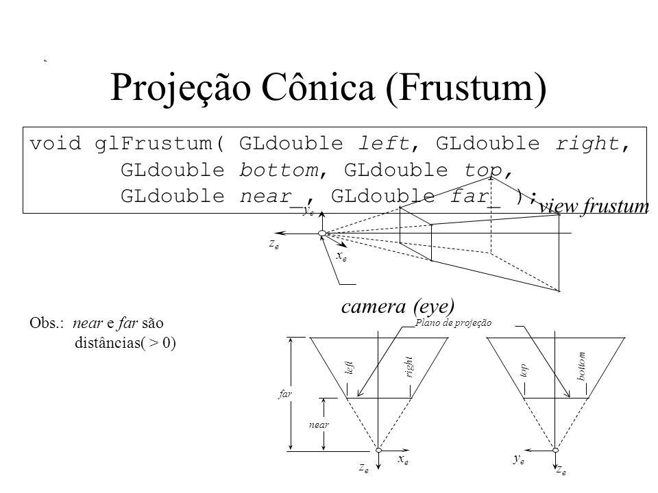 Projeção Cônica (Frustum) far left right xexe zeze near top bottom yeye zeze camera (eye) view frustum xexe yeye zeze void glFrustum( GLdouble left, GLdouble right, GLdouble bottom, GLdouble top, GLdouble near_, GLdouble far_ ); Obs.: near e far são distâncias( > 0) Plano de projeção