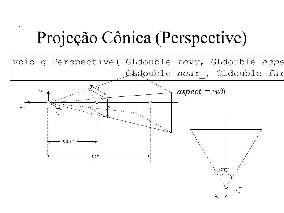 Projeção Cônica (Perspective) aspect = w/h xexe yeye zeze void glPerspective( GLdouble fovy, GLdouble aspect, GLdouble near_, GLdouble far_ ); near far w h xexe zeze fovy