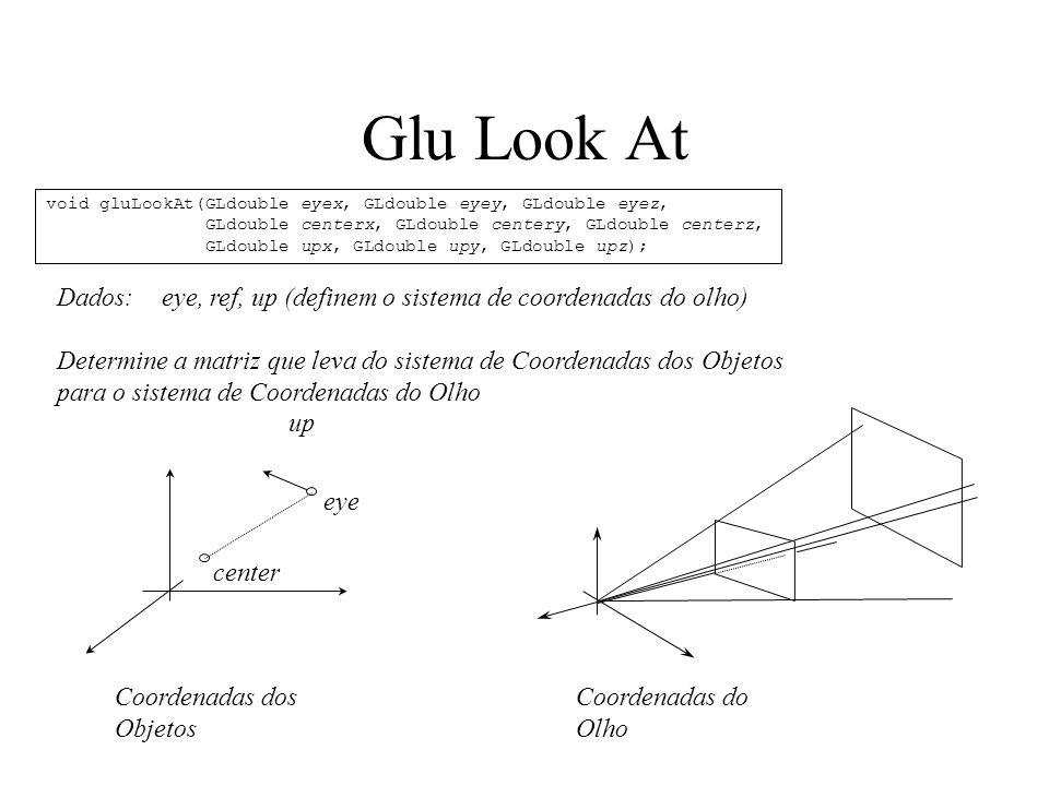 Glu Look At Dados: eye, ref, up (definem o sistema de coordenadas do olho) Determine a matriz que leva do sistema de Coordenadas dos Objetos para o sistema de Coordenadas do Olho eye center up Coordenadas dos Objetos Coordenadas do Olho void gluLookAt(GLdouble eyex, GLdouble eyey, GLdouble eyez, GLdouble centerx, GLdouble centery, GLdouble centerz, GLdouble upx, GLdouble upy, GLdouble upz);