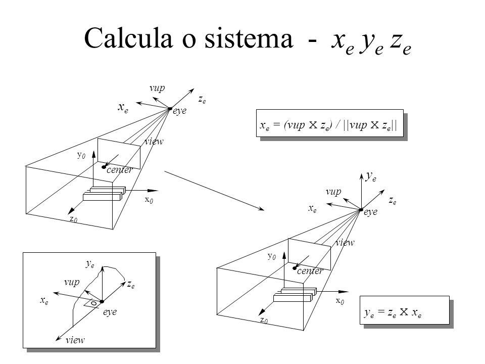 Calcula o sistema - x e y e z e x e = (vup x z e ) / ||vup x z e || center eye vup z0z0 y0y0 x0x0 view zeze xexe y e = z e x x e center eye vup z0z0 y0y0 x0x0 view zeze xexe yeye eye vup zeze xexe yeye view