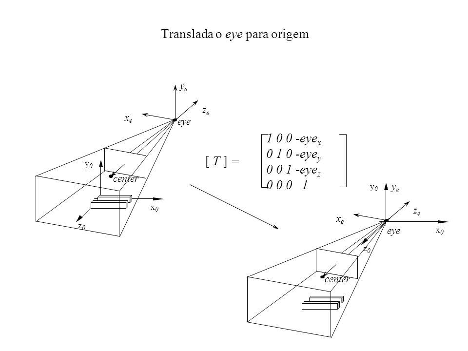 1 0 0 -eye x 0 1 0 -eye y 0 0 1 -eye z 0 0 0 1 [ T ] = Translada o eye para origem center eye z0z0 y0y0 x0x0 zeze xexe yeye z0z0 y0y0 x0x0 center eye zeze xexe yeye