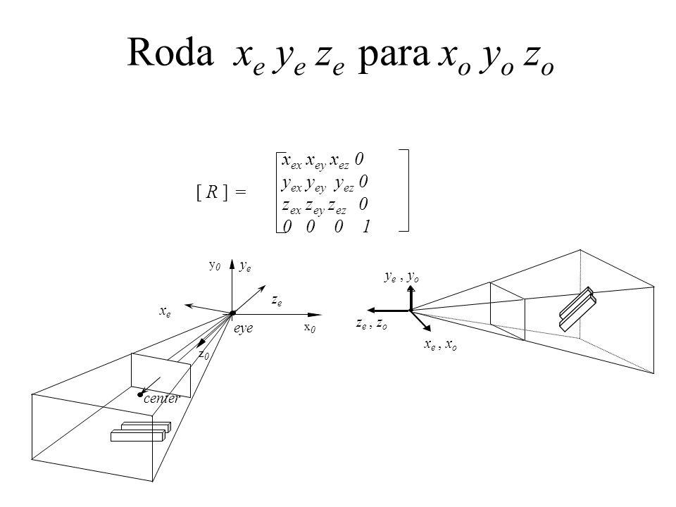 [ R ] = x ex x ey x ez 0 y ex y ey y ez 0 z ex z ey z ez 0 0 0 0 1 Roda x e y e z e para x o y o z o x e, x o y e, y o z e, z o z0z0 y0y0 x0x0 center eye zeze xexe yeye