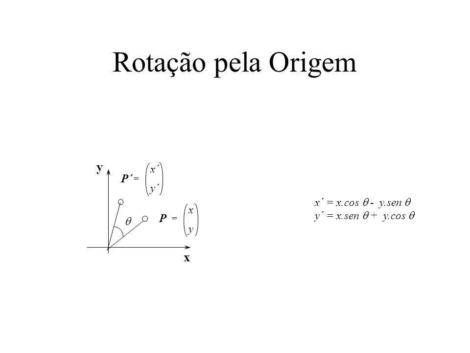 Matrizes de projeções pseudo- isométricas x y z (1,1,1) x y 1 M T(1,0,0) = (cos 30,-sin 30) T(0,1,0) = (0,1) T(0,0,1) = (-cos 30, -sin 30) cos30 0 -cos30 M = -sin30 1 -sin30 ipip i j jpjp k kpkp