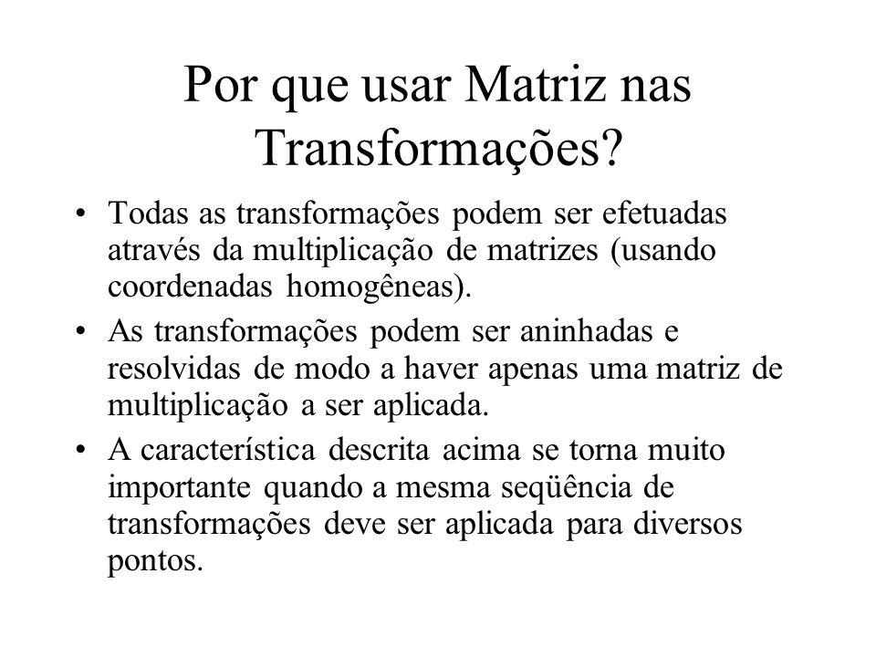 Por que usar Matriz nas Transformações.