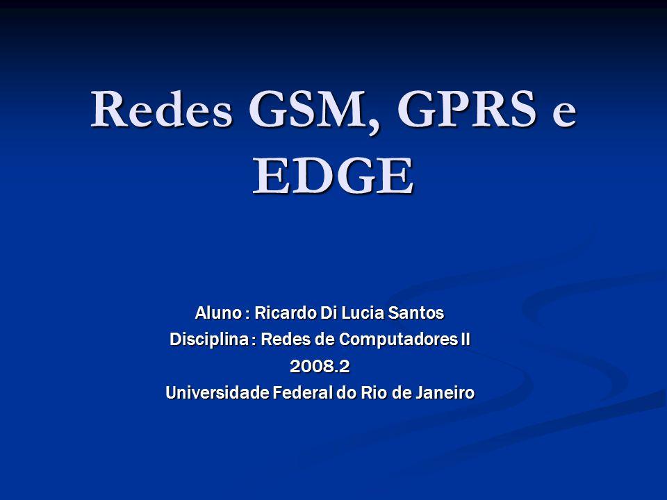 Redes GSM, GPRS e EDGE Aluno : Ricardo Di Lucia Santos Disciplina : Redes de Computadores II 2008.2 Universidade Federal do Rio de Janeiro