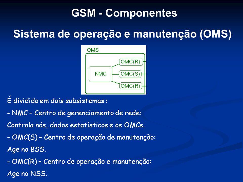 Sistema de operação e manutenção (OMS) É dividido em dois subsistemas : - NMC – Centro de gerenciamento de rede: Controla nós, dados estatísticos e os