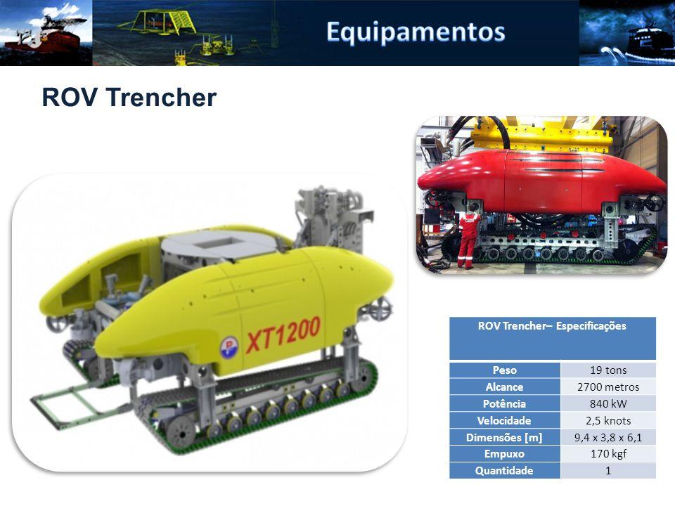 ROV Trencher– Especificações Peso19 tons Alcance2700 metros Potência840 kW Velocidade2,5 knots Dimensões [m]9,4 x 3,8 x 6,1 Empuxo170 kgf Quantidade1 ROV Trencher