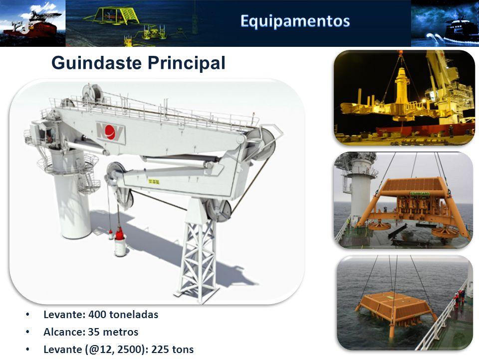 Levante: 400 toneladas Alcance: 35 metros Levante (@12, 2500): 225 tons Guindaste Principal