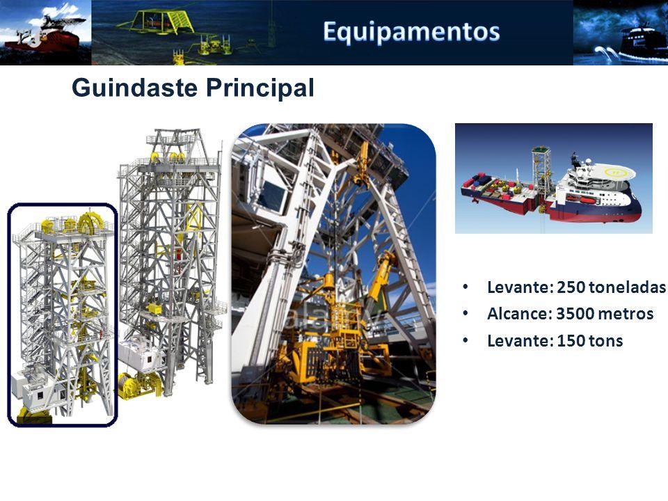 Levante: 250 toneladas Alcance: 3500 metros Levante: 150 tons Guindaste Principal