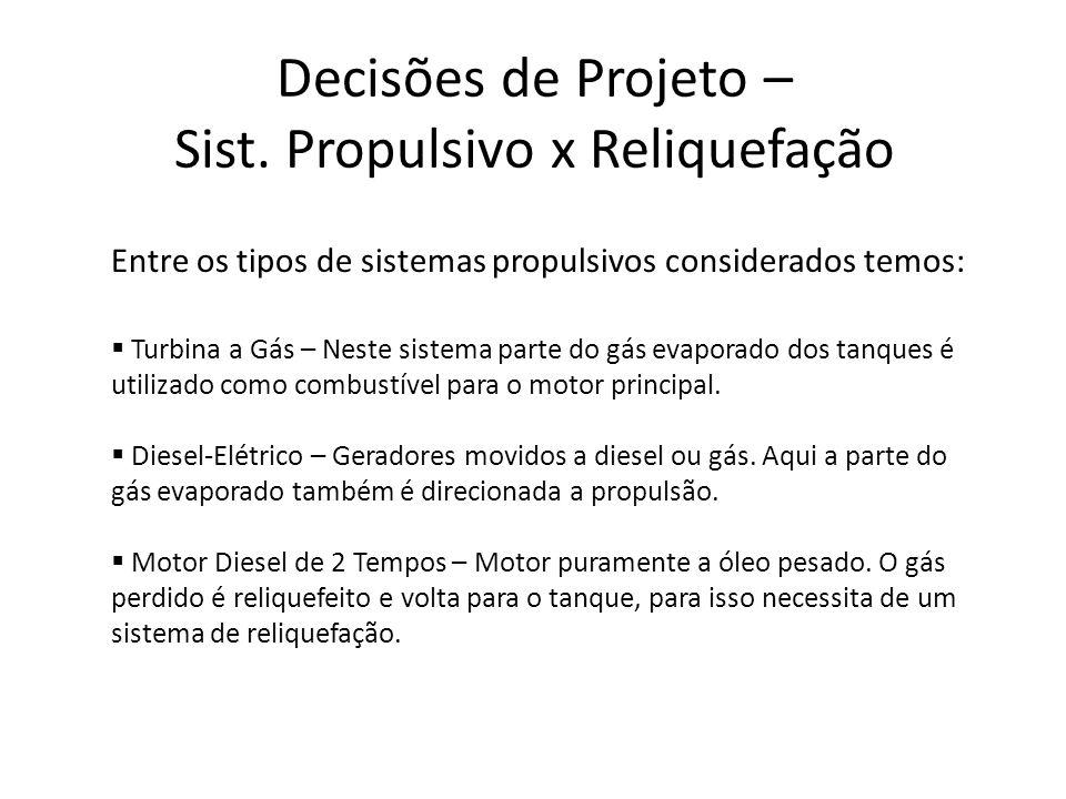 Decisões de Projeto – Sist. Propulsivo x Reliquefação Turbina a Gás – Neste sistema parte do gás evaporado dos tanques é utilizado como combustível pa