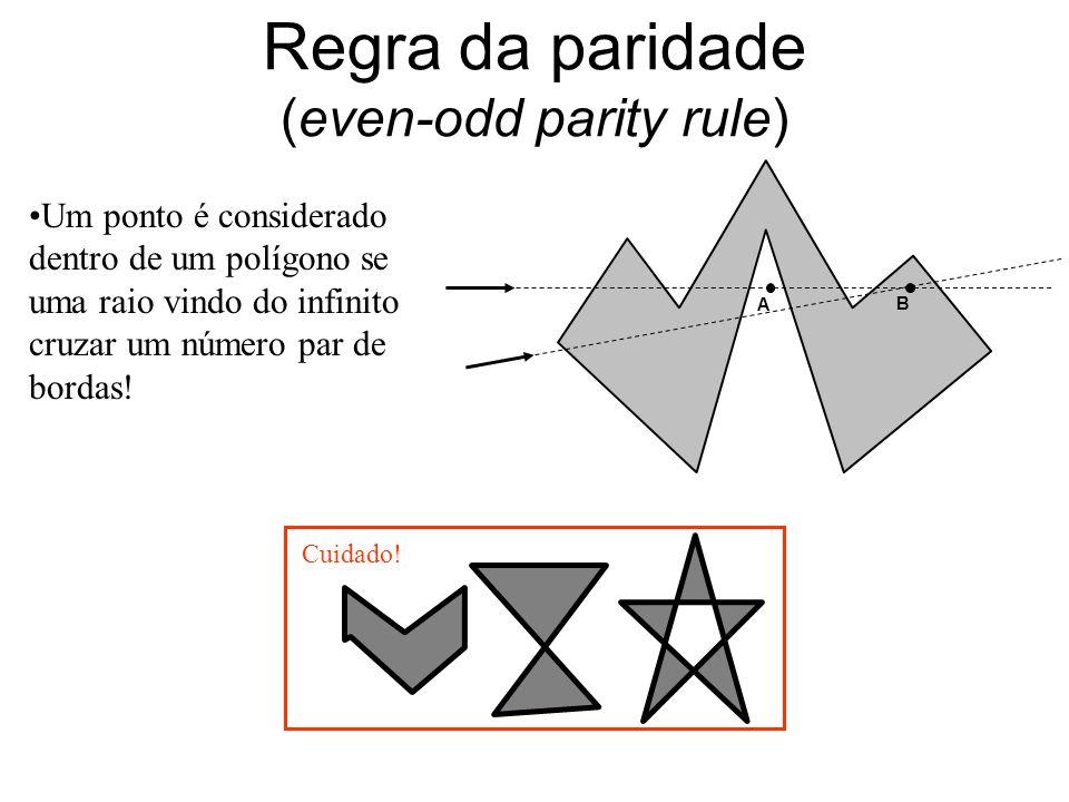 Regra da paridade (even-odd parity rule) Um ponto é considerado dentro de um polígono se uma raio vindo do infinito cruzar um número par de bordas! A