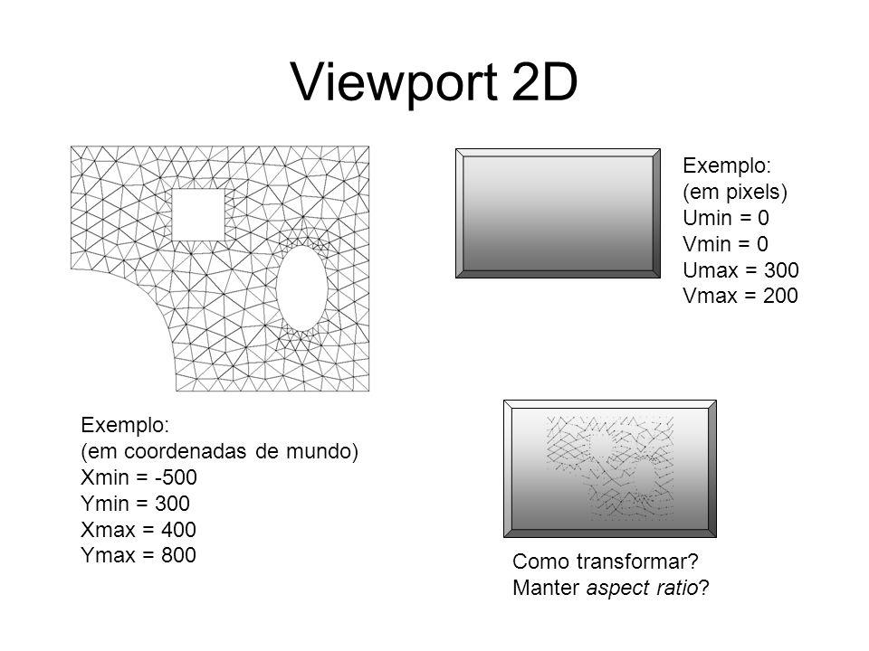 Viewport 2D Exemplo: (em coordenadas de mundo) Xmin = -500 Ymin = 300 Xmax = 400 Ymax = 800 Exemplo: (em pixels) Umin = 0 Vmin = 0 Umax = 300 Vmax = 2