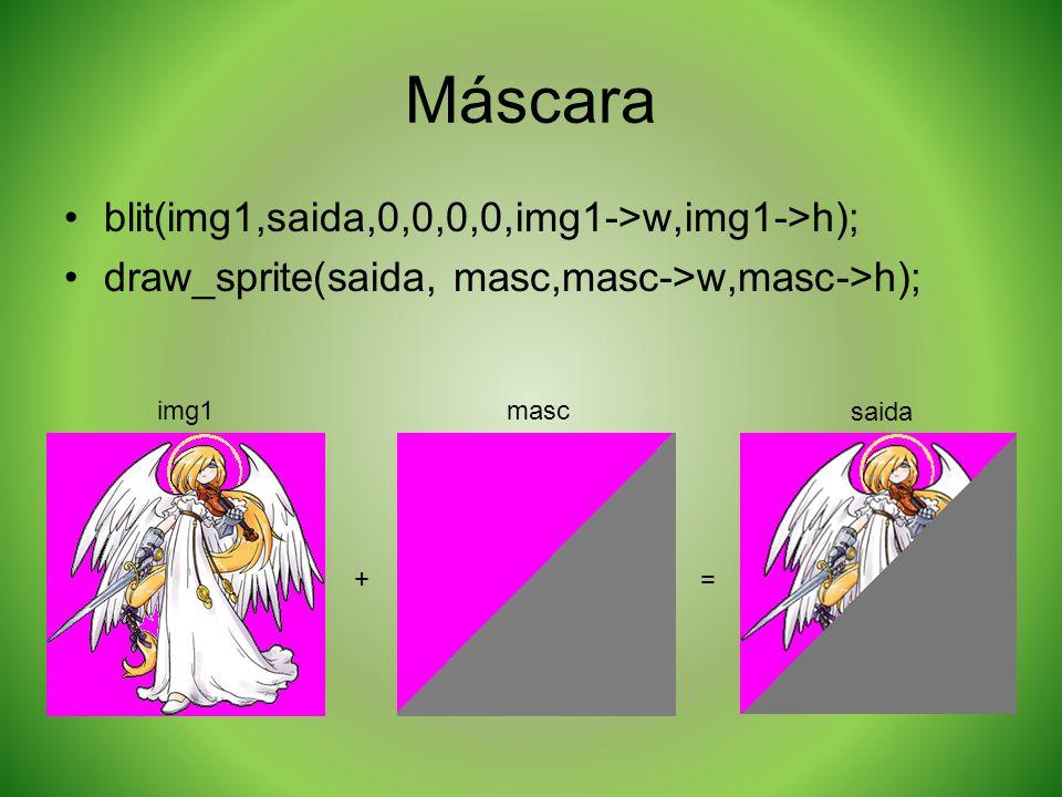 Máscara + = blit(img1,saida,0,0,0,0,img1->w,img1->h); draw_sprite(saida, masc,masc->w,masc->h); img1masc saida