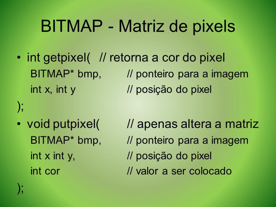 BITMAP - Matriz de pixels int getpixel(// retorna a cor do pixel BITMAP* bmp,// ponteiro para a imagem int x, int y// posição do pixel ); void putpixe