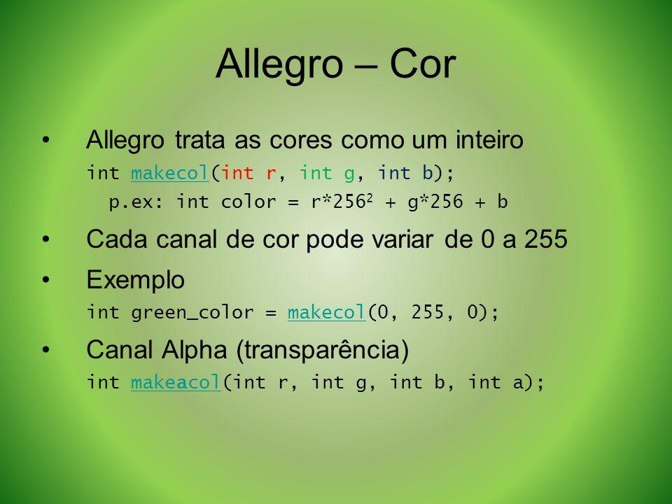 Allegro – Cor Allegro trata as cores como um inteiro int makecol(int r, int g, int b);makecol p.ex: int color = r*256 2 + g*256 + b Cada canal de cor