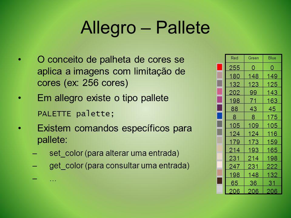 Allegro – Pallete O conceito de palheta de cores se aplica a imagens com limitação de cores (ex: 256 cores) Em allegro existe o tipo pallete PALETTE p