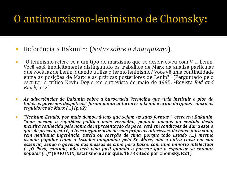 Referência a Bakunin: (Notas sobre o Anarquismo). O leninismo refere-se a um tipo de marxismo que se desenvolveu com V. I. Lenin. Você está implicitam