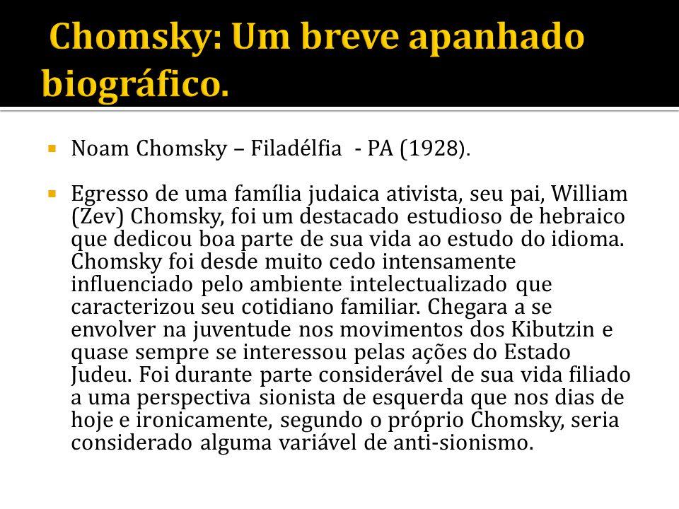 Noam Chomsky – Filadélfia - PA (192 8). Egresso de uma família judaica ativista, seu pai, William (Zev) Chomsky, foi um destacado estudioso de hebraic