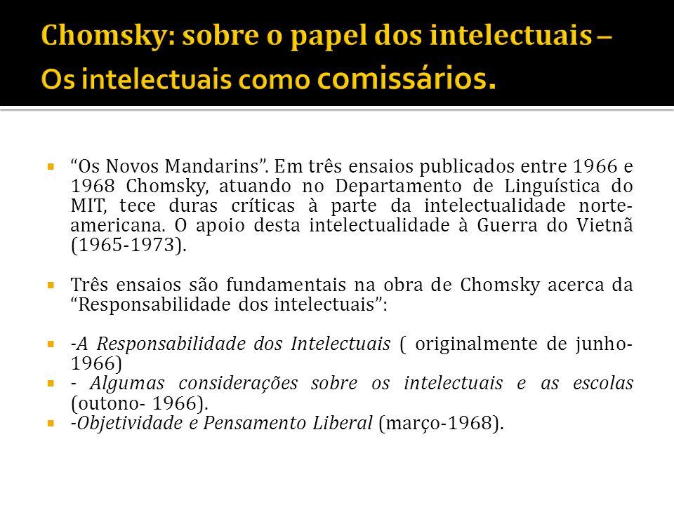 Os Novos Mandarins. Em três ensaios publicados entre 1966 e 1968 Chomsky, atuando no Departamento de Linguística do MIT, tece duras críticas à parte d