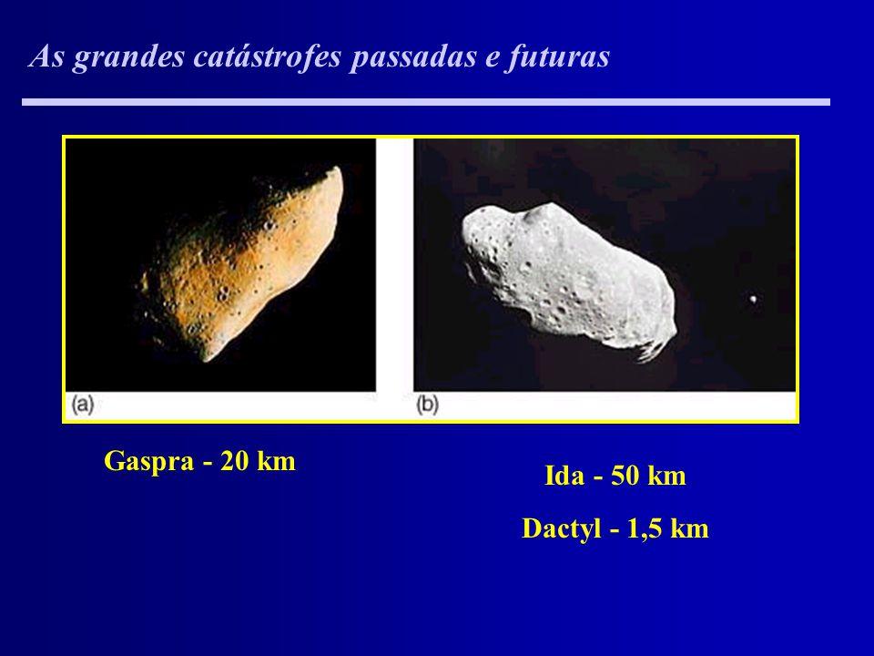 As grandes catástrofes passadas e futuras Gaspra - 20 km Ida - 50 km Dactyl - 1,5 km