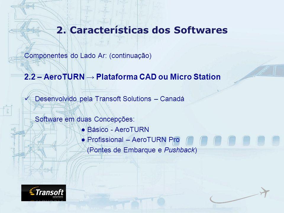 2. Características dos Softwares Componentes do Lado Ar: (continuação) 2.2 – AeroTURN Plataforma CAD ou Micro Station Desenvolvido pela Transoft Solut