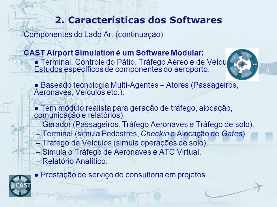 2. Características dos Softwares Componentes do Lado Ar: (continuação) CAST Airport Simulation é um Software Modular: Terminal, Controle do Pátio, Trá