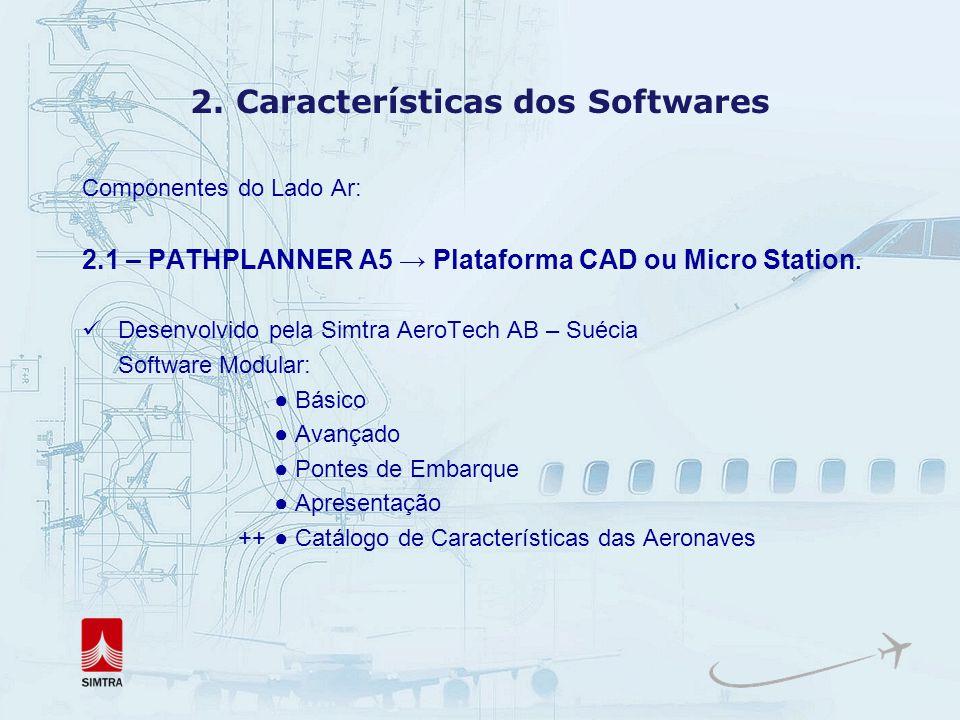 Módulos do PathPlanner A5 Base Module (obrigatório) Banco de dados com aeronaves comerciais Estacionamento e manobras básicas de aeronaves Traçado de trilha de rodas e ponta das asas.