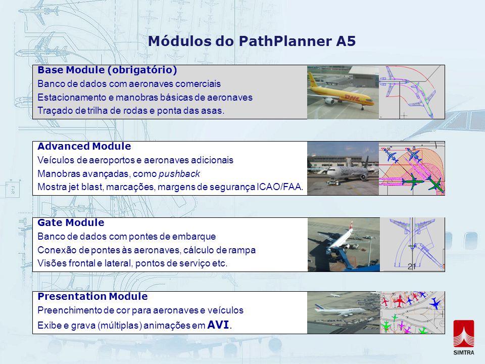 Módulos do PathPlanner A5 Base Module (obrigatório) Banco de dados com aeronaves comerciais Estacionamento e manobras básicas de aeronaves Traçado de