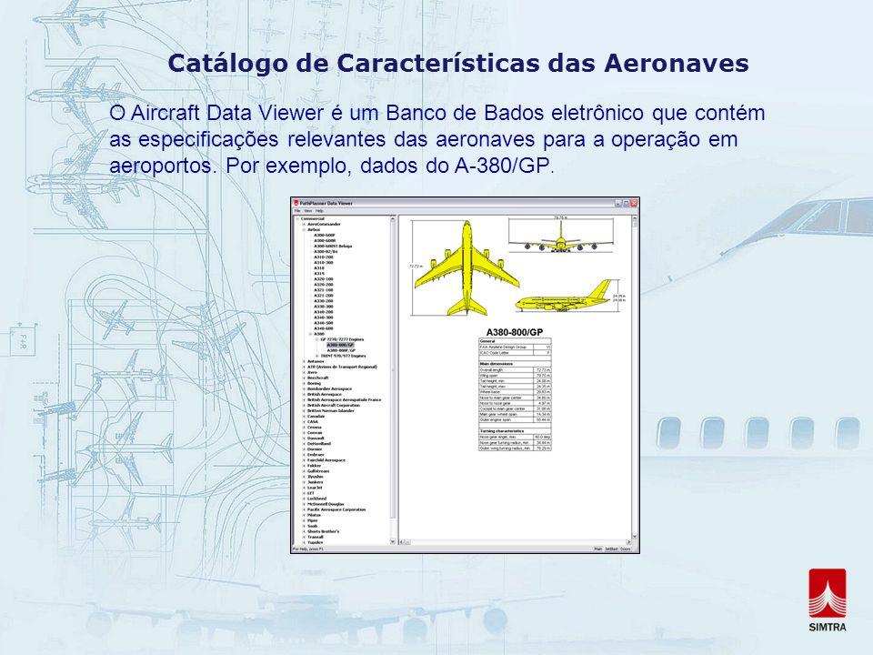 Catálogo de Características das Aeronaves O Aircraft Data Viewer é um Banco de Bados eletrônico que contém as especificações relevantes das aeronaves