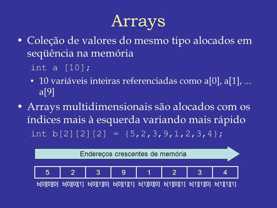 Arrays Coleção de valores do mesmo tipo alocados em seqüência na memória int a [10]; 10 variáveis inteiras referenciadas como a[0], a[1],...