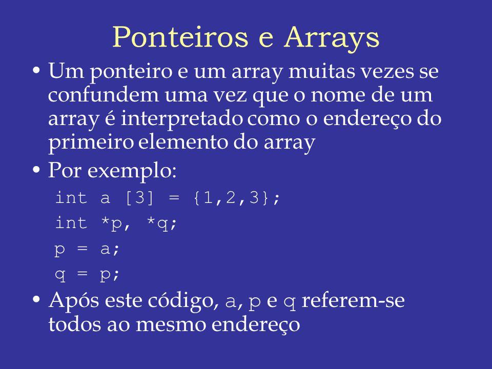 Ponteiros e Arrays Um ponteiro e um array muitas vezes se confundem uma vez que o nome de um array é interpretado como o endereço do primeiro elemento do array Por exemplo: int a [3] = {1,2,3}; int *p, *q; p = a; q = p; Após este código, a, p e q referem-se todos ao mesmo endereço