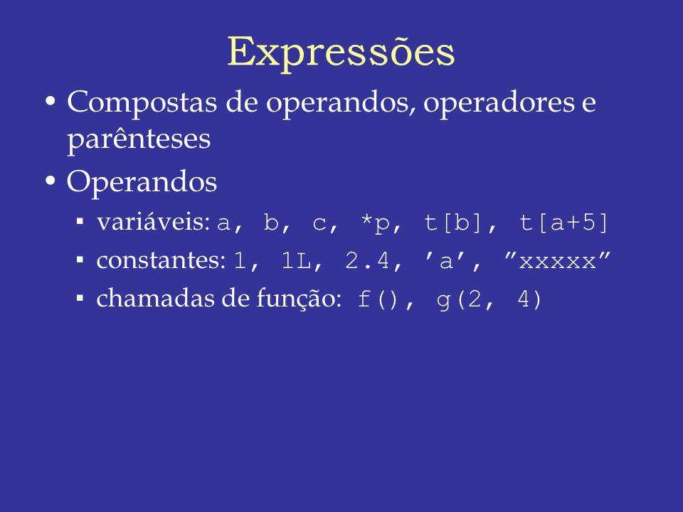 Expressões Compostas de operandos, operadores e parênteses Operandos variáveis: a, b, c, *p, t[b], t[a+5] constantes: 1, 1L, 2.4, a, xxxxx chamadas de função: f(), g(2, 4)