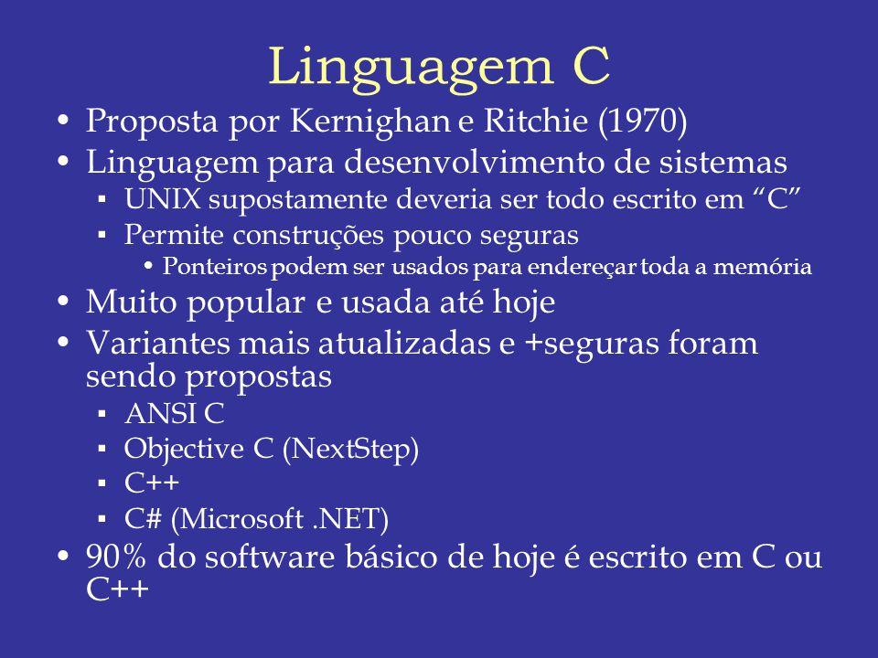Linguagem C Proposta por Kernighan e Ritchie (1970) Linguagem para desenvolvimento de sistemas UNIX supostamente deveria ser todo escrito em C Permite construções pouco seguras Ponteiros podem ser usados para endereçar toda a memória Muito popular e usada até hoje Variantes mais atualizadas e +seguras foram sendo propostas ANSI C Objective C (NextStep) C++ C# (Microsoft.NET) 90% do software básico de hoje é escrito em C ou C++