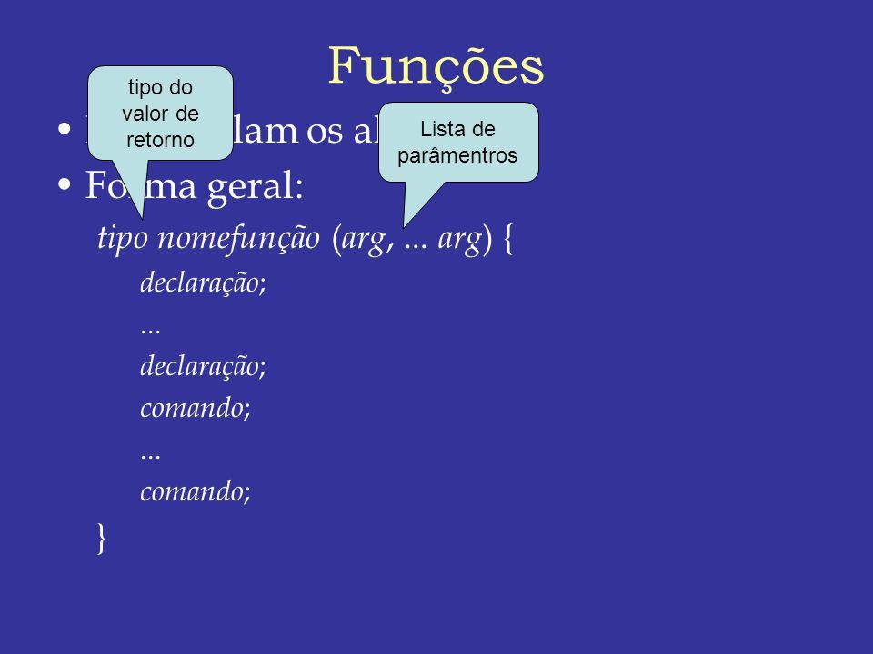 Funções Encapsulam os algoritmos Forma geral: tipo nomefunção ( arg,...