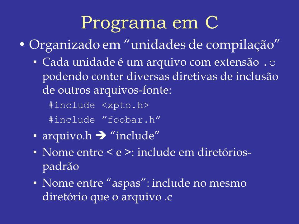 Programa em C Organizado em unidades de compilação Cada unidade é um arquivo com extensão.c podendo conter diversas diretivas de inclusão de outros arquivos-fonte: #include #include foobar.h arquivo.h include Nome entre : include em diretórios- padrão Nome entre aspas: include no mesmo diretório que o arquivo.c