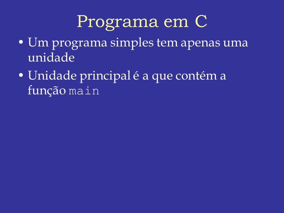 Programa em C Um programa simples tem apenas uma unidade Unidade principal é a que contém a função main