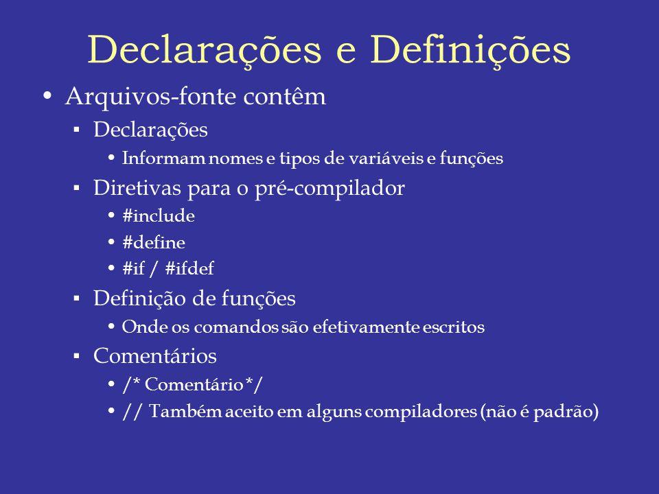 Declarações e Definições Arquivos-fonte contêm Declarações Informam nomes e tipos de variáveis e funções Diretivas para o pré-compilador #include #define #if / #ifdef Definição de funções Onde os comandos são efetivamente escritos Comentários /* Comentário */ // Também aceito em alguns compiladores (não é padrão)