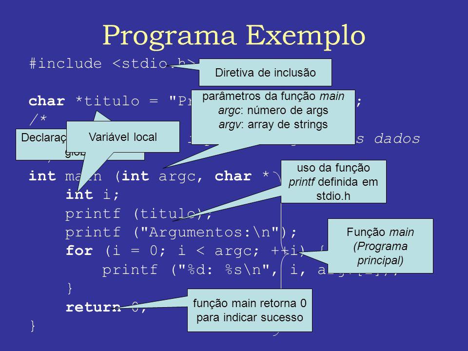 Programa Exemplo #include char *titulo = Programa Exemplo\n ; /* * Programa para imprimir argumentos dados */ int main (int argc, char * argv []) { int i; printf (titulo); printf ( Argumentos:\n ); for (i = 0; i < argc; ++i) { printf ( %d: %s\n , i, argv[i]); } return 0; } Diretiva de inclusão Declaração de variável global Função main (Programa principal) uso da função printf definida em stdio.h parâmetros da função main argc: número de args argv: array de strings Variável local função main retorna 0 para indicar sucesso