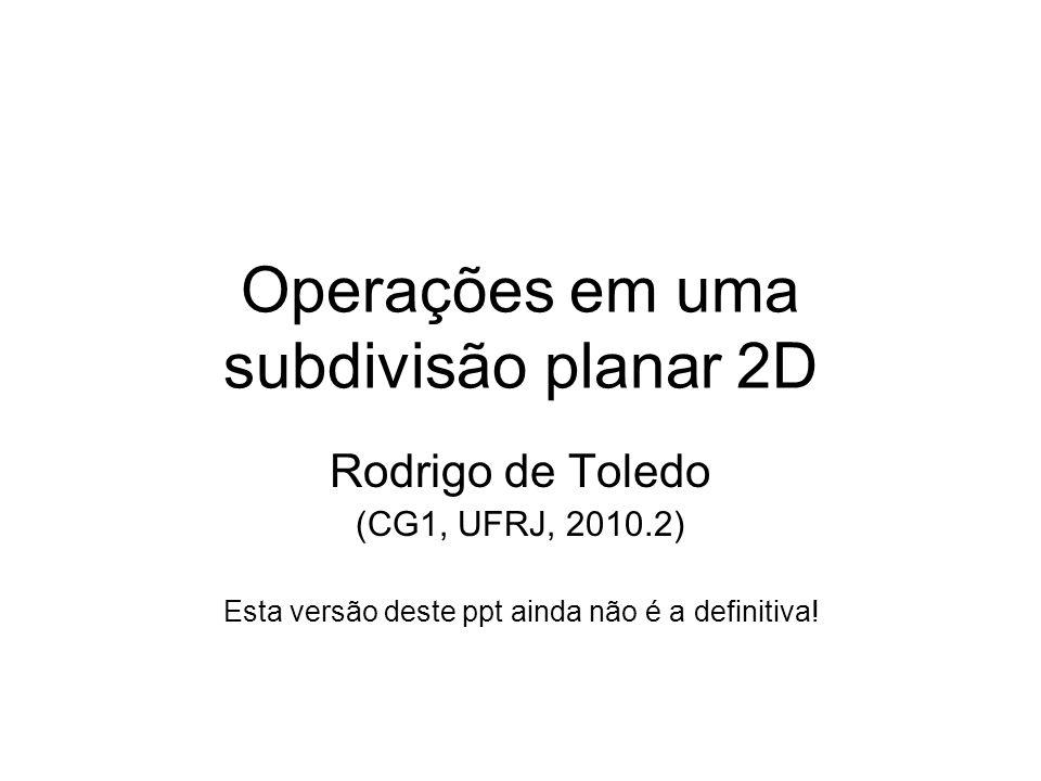Operações em uma subdivisão planar 2D Rodrigo de Toledo (CG1, UFRJ, 2010.2) Esta versão deste ppt ainda não é a definitiva!