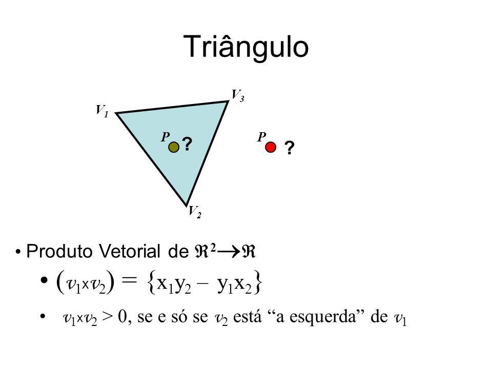 Triângulo Produto Vetorial de 2 ( v 1 x v 2 ) = { x 1 y 2 – y 1 x 2 } v 1 x v 2 > 0, se e só se v 2 está a esquerda de v 1 .