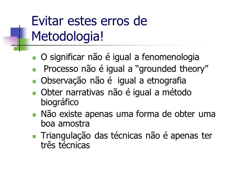 Evitar estes erros de Metodologia! O significar não é igual a fenomenologia Processo não é igual a grounded theory Observação não é igual a etnografia