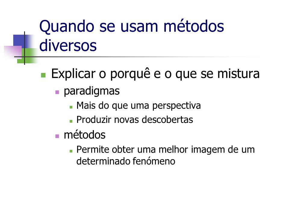 Quando se usam métodos diversos Explicar o porquê e o que se mistura paradigmas Mais do que uma perspectiva Produzir novas descobertas métodos Permite