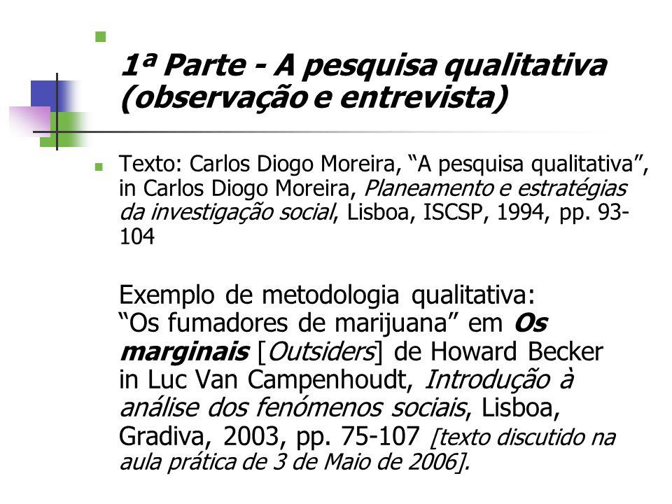 1ª Parte - A pesquisa qualitativa (observação e entrevista) Texto: Carlos Diogo Moreira, A pesquisa qualitativa, in Carlos Diogo Moreira, Planeamento