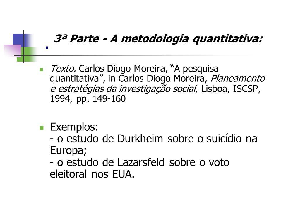 . 3ª Parte - A metodologia quantitativa: Texto. Carlos Diogo Moreira, A pesquisa quantitativa, in Carlos Diogo Moreira, Planeamento e estratégias da i