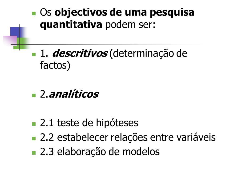 Os objectivos de uma pesquisa quantitativa podem ser: 1. descritivos (determinação de factos) 2.analíticos 2.1 teste de hipóteses 2.2 estabelecer rela