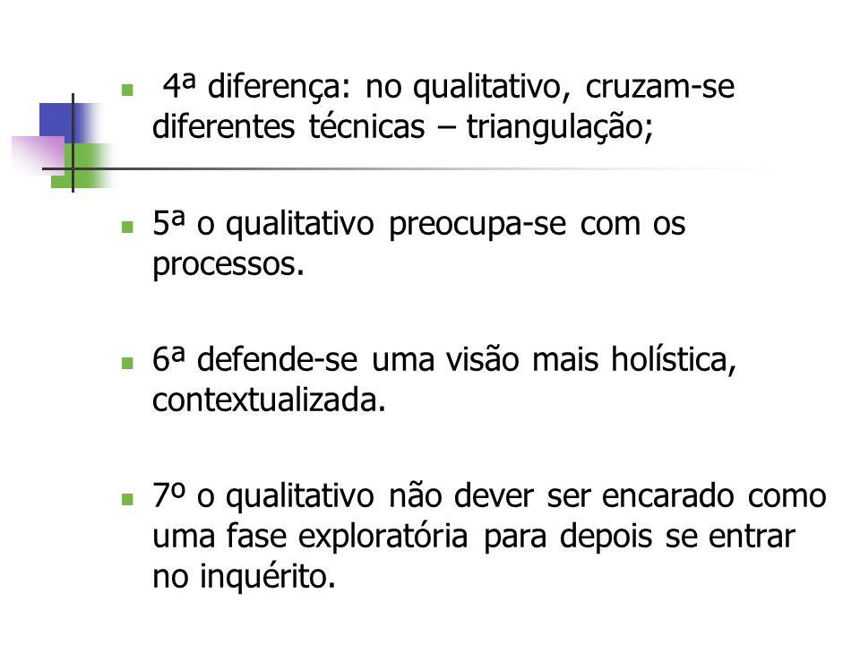 4ª diferença: no qualitativo, cruzam-se diferentes técnicas – triangulação; 5ª o qualitativo preocupa-se com os processos. 6ª defende-se uma visão mai
