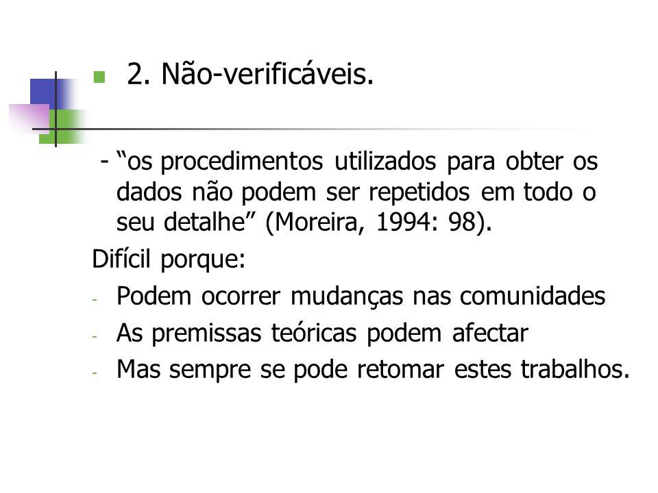 2. Não-verificáveis. - os procedimentos utilizados para obter os dados não podem ser repetidos em todo o seu detalhe (Moreira, 1994: 98). Difícil porq