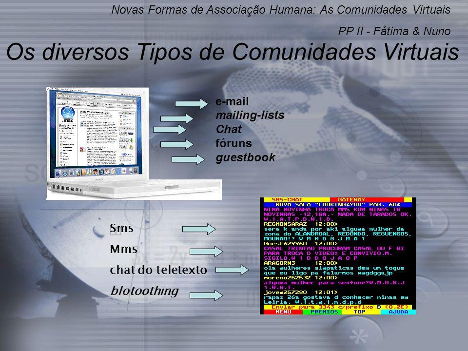Os diversos Tipos de Comunidades Virtuais e-mail mailing-lists Chat fóruns guestbook Novas Formas de Associação Humana: As Comunidades Virtuais PP II - Fátima & Nuno Sms Mms chat do teletexto blotoothing
