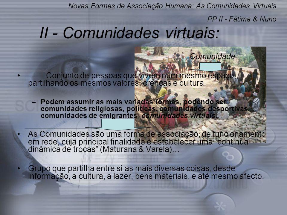 II - Comunidades virtuais: Comunidade Conjunto de pessoas que vivem num mesmo espaço, partilhando os mesmos valores, crenças e cultura.